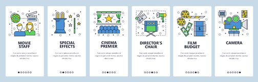 Onboarding οθόνες ιστοχώρου Εικονίδια κινηματογράφων και κινηματογραφικής βιομηχανίας Διανυσματικό πρότυπο εμβλημάτων επιλογών γι ελεύθερη απεικόνιση δικαιώματος