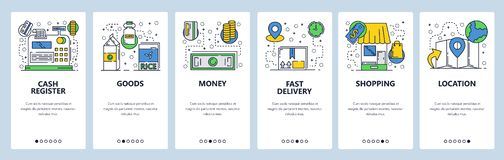 Onboarding οθόνες ιστοχώρου On-line να ψωνίσει και πληρωμή χρημάτων Διανυσματικό πρότυπο εμβλημάτων επιλογών για τον ιστοχώρο και απεικόνιση αποθεμάτων