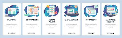 Экраны мобильного приложения onboarding Руководство бизнесом и стратегия строгая, онлайн болтовня, сообщения, социальные средства иллюстрация вектора