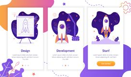 Onboarding app screens. Project development. Building rocket from design to launch. Onboarding screens template. Mobile app design. Business concept. Flat vector vector illustration