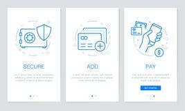Onboarding app seleciona telas modernas e simplificadas do procedimento da ilustração do vetor Molde de UI para apps móveis ilustração stock