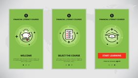 Onboarding design concept for financial literacy courses. Modern  flat line mobile app design set of financial literacy courses. Onboarding screens for financial Royalty Free Stock Photo
