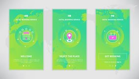 Onboarding design concept for hotel booking service. Modern  flat line mobile app design set of hotel booking services. Onboarding screens for hotel booking Royalty Free Stock Images