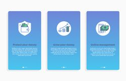 Onboarding payment app screens Modern and simplified vector illustration walkthrough screens. UI template for mobile apps, smart p. Onboarding splashscreen Stock Photography