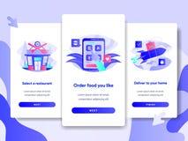 Onboarding-Schirm-Seitenschablone des on-line-Nahrungsmittellieferungs-Konzeptes Modernes flaches Konzept des Entwurfes des Webse stock abbildung