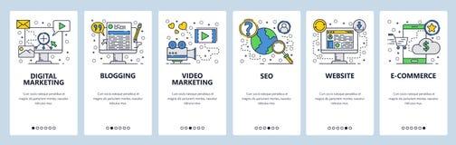 Onboarding Schirme der Website SEO, digitales Marketing, on-line-Einkaufen, Video Menüvektor-Fahnenschablone für Website und stock abbildung
