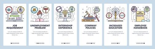 Onboarding Schirme des mobilen App Ausbildung und Jobsuche, Praktikum, Angestellter und Unternehmenskultur Men?vektorfahne stock abbildung