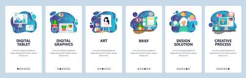 Onboarding Schirme des mobilen App Digital-Illustration, Kunst kreativ und Entwurf Menüvektor-Fahnenschablone für Website stock abbildung