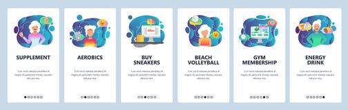 Onboarding Schirme des mobilen App Gesunde Nahrung, Eignung, Sport und Diät Menüvektor-Fahnenschablone für Website und Mobile vektor abbildung