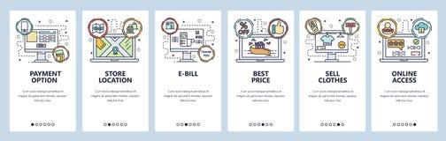 Onboarding Schirme des mobilen App On-line-Einkaufen, Zahlungswahl, Geschäftsstandort, Online-Zugriff Men?vektorfahne lizenzfreie abbildung