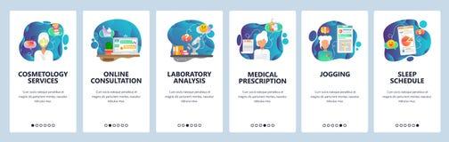 Onboarding Schirme des mobilen App Schönheits- und Gesundheitswesenindustrie, Doktor on-line, drugprescription, Eignung App Menü- stock abbildung