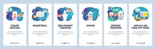 Onboarding Schirme des mobilen App Sport und gesunder Lebensstil Eiskunstlauf, Basketball, Tauchen, Diät, Eignung Vektor lizenzfreie abbildung
