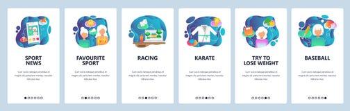 Onboarding Schirme des mobilen App Sportspiel-on-line-Sendung am Handy Karate, Baseball, laufend Menüvektorfahne stock abbildung