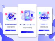 Onboarding screen page template of Online Transportation Service Concept. Modern flat design concept of web page design for vector illustration