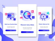 Onboarding screen page template of Video Streaming Application Concept. Modern flat design concept of web page design for website stock illustration