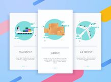 Onboarding screens user interface kit for mobile app templates concept of logistics and delivery. Modern vector illustration. Walkthrough screens template for vector illustration