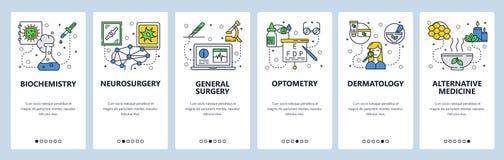Onboarding skärmar för mobil app Medicin- och sjukhussymboler, labb, kirurgi, optometry, örter Mall för menyvektorbaner vektor illustrationer
