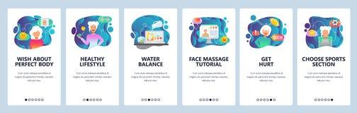 Onboarding skärmar för mobil app Sport och sund livsstil, vattenjämvikt och att banta Mall för menyvektorbaner för royaltyfri illustrationer