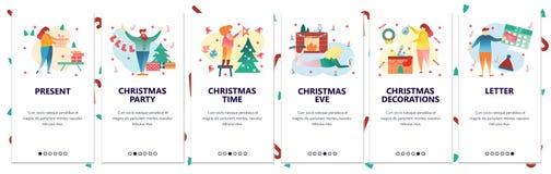 Onboarding skärmar för webbplats Beröm för glad jul och för nytt år Garnering för vinterferie Menyvektorbaner stock illustrationer