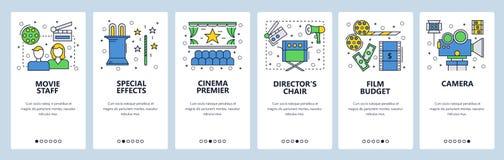 Onboarding skärmar för webbplats Bio- och filmbranschsymboler Mall för menyvektorbaner för website och mobil app royaltyfri illustrationer