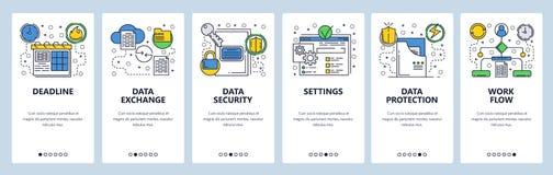 Onboarding skärmar för webbplats Datautbyte, synkronisering och skydd Mall för menyvektorbaner för website och mobil app royaltyfri illustrationer