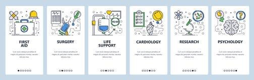 Onboarding skärmar för webbplats Första hjälpen medicinsk klinik, sjukhus, kirurgi Mall för menyvektorbaner för website och stock illustrationer
