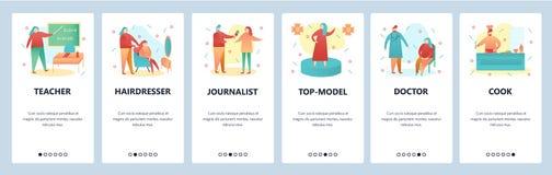 Onboarding skärmar för webbplats Folk av olika yrken, lärare, doktor, kock Mall för menyvektorbaner för stock illustrationer