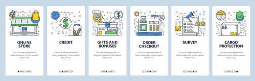 Onboarding skärmar för webbplats Online-lager, kassaterminal, granskning och packeleveranssymboler Mall för menyvektorbaner stock illustrationer