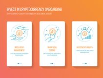 Cryptocurrency investing onboarding mobile app walkthrough screens modern, clean and simple concept. vector illustration template. Onboarding splashscreen Stock Images