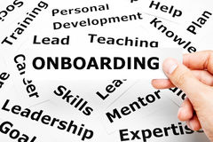 Onboardingsdocument Woordenconcept royalty-vrije stock foto