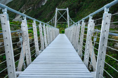 Nobody at empty bridge in paradise places, South New Zealand / Mount Cook National Park Royalty Free Stock Photo