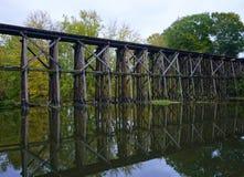 Historic Trestle Bridge in Early Autum in Hamilton, Michigan stock photo