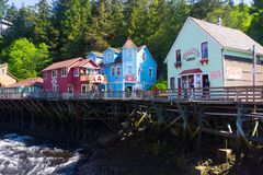Ketchikan Alaska Creek Street historic boardwalk. Once the bordello area of Ketchikan. Built on a wooden boardwalk with wooden pilings over Ketchikan Creek Royalty Free Stock Photo