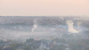Once charming town covered in thick layer of smog from industrial factories. Stock footage stock video footage