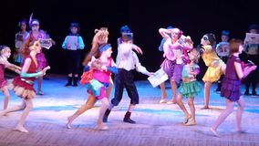 Once in the city. DNIPROPETROVSK, UKRAINE - FEBRUARY 23, 2016: Unidentified children, ages 4-13 years old, perform Once in the city… at the State Palace