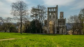 Monastery Abbaye de Jumièges / Jumièges Abbey in Normandy, France stock photography