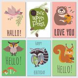 Once upon forest cards collection. Cute animals kids cards. Vector forest animal bear and owl on card illustration Stock Image