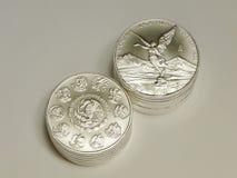 1 once Libertad Coins argentée mexicaine Image libre de droits