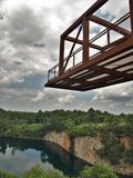 Observation Deck at Quarry Park in Winston-Salem. Once an old granite quarry, the mostly wooded 200 acres was acquired by the city and in 2017 opened as Forsyth royalty free stock images