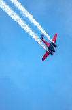 Once Private Plane, executing tricks in air. I captured this image at an Air Show in Waterloo, Iowa in August of 2014. This plane once used to haul executives royalty free stock photography