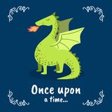 Once Upon a Time Banner Template, Fairytale Dragon on Dark Blue Background, Design Element Can Be Used for Invitation. Card, Flyer, Poster, Label, Cover royalty free illustration