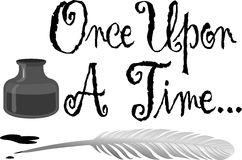 Once Upon a Time Pen Ink. Illustration of an old-fashioned feather quill pen in an ink bottle and the headline Once Upon a Time Royalty Free Stock Images