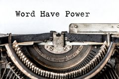 Word Have Power typed words on a vintage typewriter. Close up stock photos