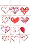 Once y medios corazones. ilustración del vector