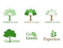 Oncept птицы белой бумаги лететь безбумажное идет зеленый логотип иллюстрация вектора