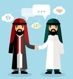 Сoncept of arabic business  with handshake Royalty Free Stock Image