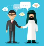 Сoncept of arabic and european business  with handshake Royalty Free Stock Images