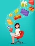Oncept de ¡ de Ð des achats en ligne La femme achète des cadeaux au-dessus de l'Internet illustration stock