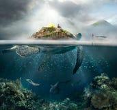 Oncept del ¡ di Ð del viaggio nelle montagne e sotto acqua Immagine Stock Libera da Diritti