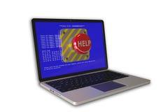 Сoncept på datorhjälp: bärbar dator med problem och hjälpknappen Arkivfoton
